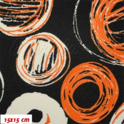 Kočárkovina MAT, Malovaná kola bílooranžová, šíře 160 cm, 10 cm, Atest 1