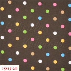 Kočárkovina MAT, Malé puntíky barevné na hnědé, šíře 160 cm, 10 cm, Atest 1