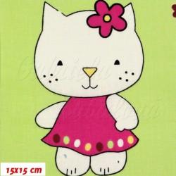 Plátno - podobná Hello Kitty na zelené, šíře 160 cm, 10 cm, ATEST 1