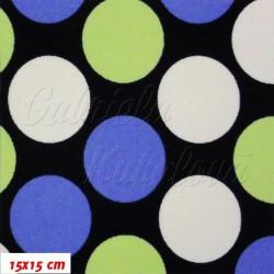 Kočárkovina MAT, Velké puntíky modré, zelené a bílé na tm. modré, šíře 160 cm, 10 cm, Atest 1