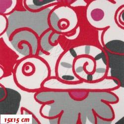 Kočárkovina MAT, Šneci červení, šíře 160 cm, 10 cm