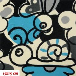 Kočárkovina MAT, Šneci s modrou na přírodní bílé, šíře 160 cm, 10 cm