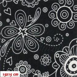 E - Kočárkovina LESK, Květiny na černé, šíře 160 cm, 10 cm