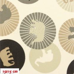 Kočárkovina MAT, Sloni v kolečkách hnědí na smetanové, šíře 160 cm, 10 cm, Atest 1
