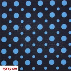 Kočárkovina MAT, Malé a velké puntíky modré, šíře 160 cm, 10 cm, Atest 1
