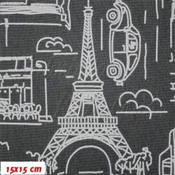 Kočárkovina MAT, Města a auta na šedé jeans, šíře 160 cm, 10 cm, Atest 1