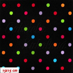 Kočárkovina MAT, Malé puntíky barevné na černé, šíře 160 cm, 10 cm, Atest 1