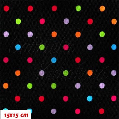 HF šusťák, Barevné puntíky 7 mm na černé, 15x15 cm