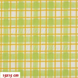 Plátno Zelené a oranžové čáry na bílé, 15x15 cm