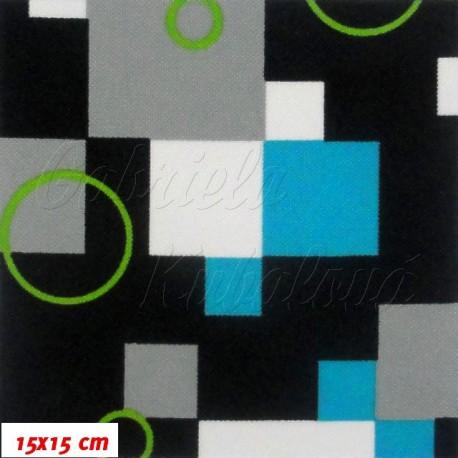 Kočárkovina, Kostky tyrkysové s kroužky na černé, 15x15cm