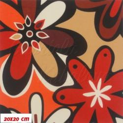 Kočárkovina MAT, Červeno-oranžovo-fialové květy, šíře 160 cm, 10 cm, Atest 1