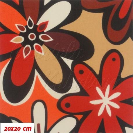 Kočárkovina, Červeno-oranžovo-fialové kytky, 20x20cm