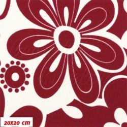 Šusťák nepromokavý HF kočárkový, červenobílé květy, 20x20cm