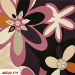 Kočárkovina MAT, Strakaté fialové kytky, šíře 160 cm, 10 cm