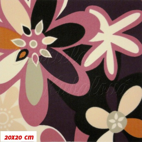 Šusťák nepromokavý HF kočárkový, Strakaté fialové kytky, 20x20cm