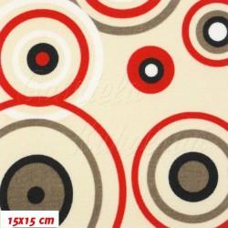 Kočárkovina MAT, Kruhy červené na béžové, šíře 160 cm, 10cm