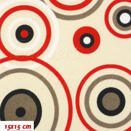 HF Šusťák - Kruhy červené na béžové, 15x15cm