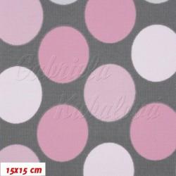 Kočárkovina MAT, Velké puntíky růžové a bílé na šedé, šíře 160 cm, 10 cm, Atest 1