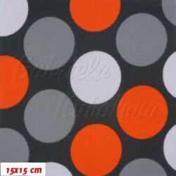 Kočárkovina MAT, Velké puntíky oranžové šedé a bílé na tm. šedé, šíře 160 cm, 10 cm, Atest 1