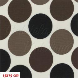 Kočárkovina MAT, Velké puntíky hnědé, šíře 160 cm, 10 cm, Atest 1