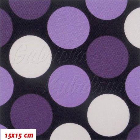 Kočárkovina, Velké puntíky fialové a bílé na tm. fialové, 15x15cm