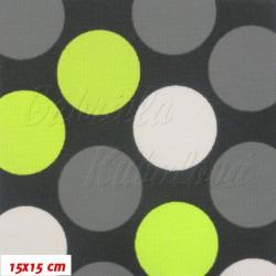 Kočárkovina MAT, Velké puntíky zelené šedé a bílé na tm. šedé, šíře 160 cm, 10 cm, Atest 1