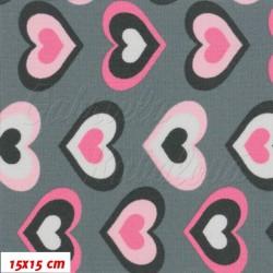 Kočárkovina MAT, Růžová srdíčka na šedé, šíře 160 cm, 10 cm, Atest 1