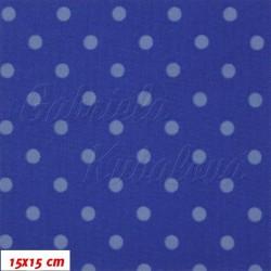 Kočárkovina MAT, Malé puntíky sv. modré na tm. modré, šíře 160 cm, 10 cm, Atest 1
