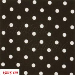 Kočárkovina MAT, Malé puntíky bílé na hnědé, šíře 160 cm, 10 cm, Atest 1