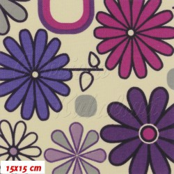 Kočárkovina MAT, Rozkvetlá louka růžovofialová na krémové, šíře 160 cm, 10 cm