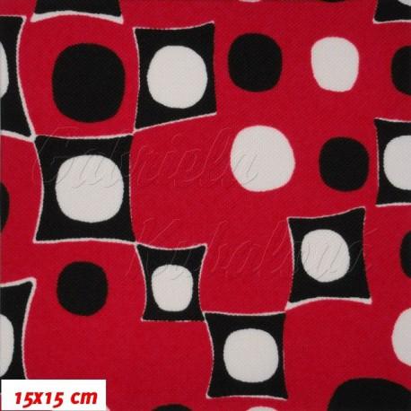 Kočárkovina, Kostičky a kolečka na červené, 15x15cm