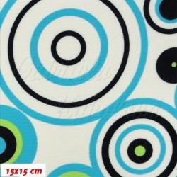 Kočárkovina, Kruhy modré a zelené na bílé, 15x15cm
