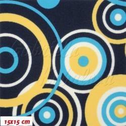 Kočárkovina MAT, tyrkysové a žluté kruhy na tm. modré, šíře 160 cm, 10cm, Atest 1