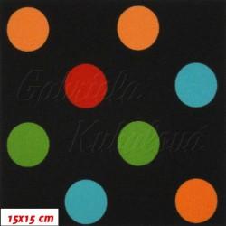 Kočárkovina MAT, Střední puntíky oranžové zelené modré červené na černé, šíře 160 cm, 10 cm, Atest 1