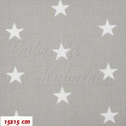 Plátno - Hvězdičky 22 mm bílé na světle šedé, šíře 160 cm, 10 cm