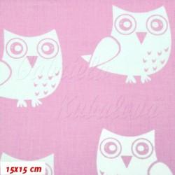 Plátno, Sovy růžová bílá, 15x15cm