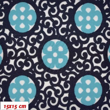 Kočárkovina, Ornamenty modré na bílé, 15x15cm