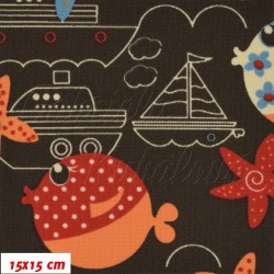 Kočárkovina MAT, Moře lodě a ryby na hnědé, šíře 160 cm, 10 cm, Atest 1