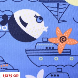 Kočárkovina MAT, Moře lodě a ryby na modré, šíře 160 cm, 10 cm, Atest 1
