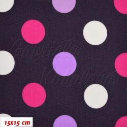 Kočárkovina, Puntíky střední růžové a bílé na tm. fialové, 15x15cm