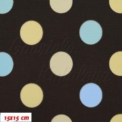 Kočárkovina MAT, Střední puntíky sv. žluté sv. modré na hnědé, šíře 160 cm, 10 cm, Atest 1