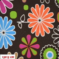 Kočárkovina MAT, Rozkvetlá louka pestrobarevná na hnědé, šíře 160 cm, 10 cm