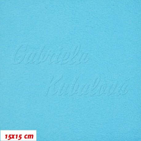 Látka micro fleece antipilling - FLEECE512, sv. tyrkysově modrá, šíře 140-155cm, 10cm