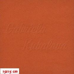 Látka micro fleece antipilling - FLEECE187, Cihlová, šíře 140-155 cm, 10 cm