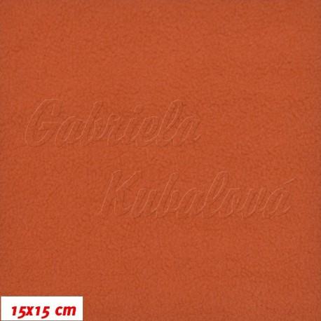 Látka micro fleece antipilling - FLEECE187, cihlová, šíře 140-155cm, 10cm