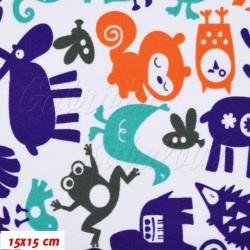 Kočárkovina MAT, Zvířátka se sobem modrá oranžová šedá zelená na bílé, šíře 160 cm, 10 cm, Atest 1