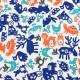 Kočárkovina - Zvířátka se sobem modrá oranžová šedá zelená na bílé, menší detail