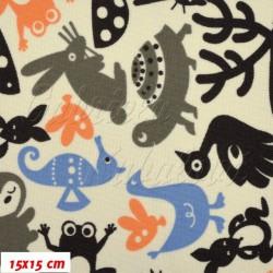 Kočárkovina - Zvířátka se sobem modrá šedá oranžová na smetanové, 15x15cm