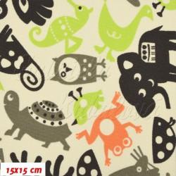 Kočárkovina MAT, Zvířátka se sobem zelené oranžová šedé na smetanové, šíře 160 cm, 10 cm, Atest 1