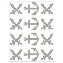Reflexní nažehlovací potisk - Pirátské šavle a kotvy (8+4 ks)